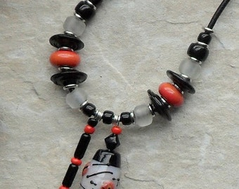 Necklace handmade individual designer lampwork glass bead pendant asymmetric design black coral white