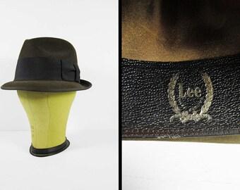 Vintage Lee Brown Fedora Hat Felt 1960s Men's Black Band - Size 7