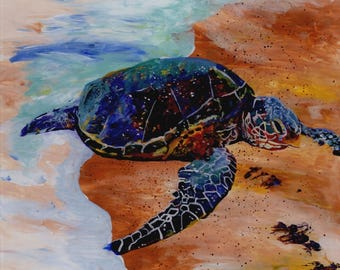 Kauai Sea Turtle Painting, Hawaiian Honu, Original Reverse Arcylic Art, Hawaii Paintings, Green Sea Turtles, Beach Ocean, Whimsical  Animals