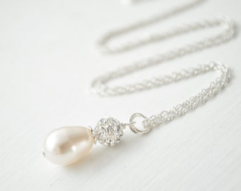 Teardrop Pearl Pendant, Bridal Pendant Necklace, Sterling Silver Chain, Bridal Necklace, Wedding Necklace
