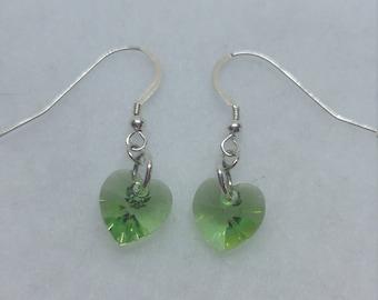 Sterling Silver Swarovski Crystal Peridot Heart Earrings (August Birthstone)