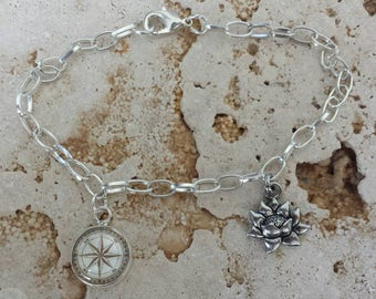 Compass & Lotus Flower Charm Bracelet