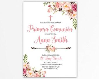 First communion invitation spanish girl, first communion invitation  printable, primera comunion, 1st communion, invitacion español