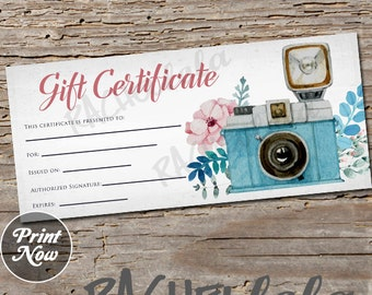 Gift certificate etsy floral camera printable gift certificate template spring direct sales photography session yadclub Images