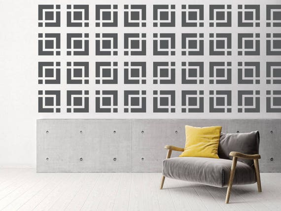Mid Century Decor Brick Wall Decals Mid Century Modern Wall