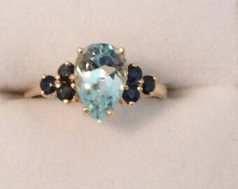 Pear Aquamarine and Sapphire 14 KT Gold Ring