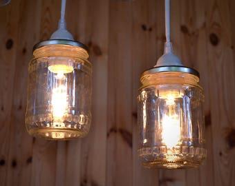 Pendant light of a canning jar, mason jar, rustic light, lamp, lighting fixtures