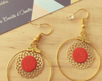 Earrings Golden hoops, engraving and genuine leather