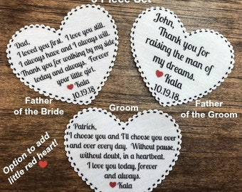"3 TIE PATCHES - Father of Bride, Father of Groom, Groom, 2.25"" Heart Shape, I Loved You First, Always Will, I Choose You Without Doubt, TYFR"