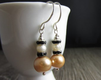 Simple Sweet Earrings - Freshwater Pearl, Swarovski Crystal in Sterling Silver