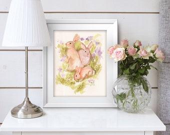 Original Watercolor 12 in x 9 in Painting 3 Spring Bunnies Rabbits Home Decor Nursery Art