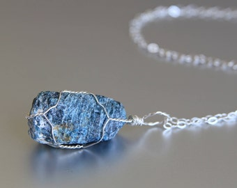 Raw Apatite Necklace, Healing Crystal Necklace, Wire Wrapped, Sterling Silver, Natural Stone, Bohemian Jewelry