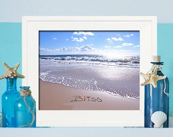 Bliss Beach Art - Spa SIgn - Beach Bathroom Decor - Beach Sign - Unique Beach Photography - Beach Spa Sign - Housewarming Gift - Beach Decor