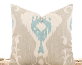 SALE ENDS SOON Tan Ikat Pillows, Ikat Throw Pillow Covers, Cotton Pillows, Cream and Tan, Cushions, Blue Ikat Pillowcases, Soft Pillows