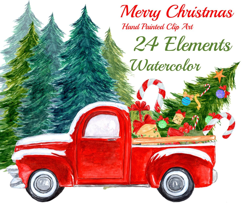 "Watercolor Christmas Clipart: ""CHRISTMAS TRUCK"" Christmas ..."