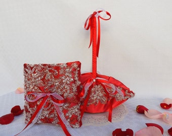 Red Flower girl basket and Wedding ring pillow decorated with Floral lace embroidery. Wedding set.