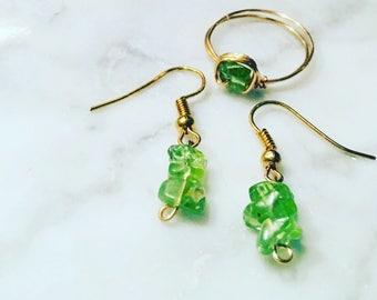 Peridot Ring & Earring set - August birthstone - Peridot ring - Peridot earrings