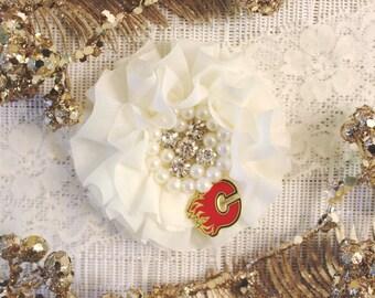 NHL Calgary Flames Ivory Lace Wedding Garter   Wedding Garter Set   Sports Garter   Bridal Shower Gift   Bridal Gift