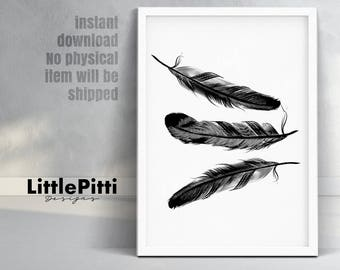 Feather print, feather wall art, black and white art, feather art print, feathers poster, feathers wall art, minimalist art, instant print