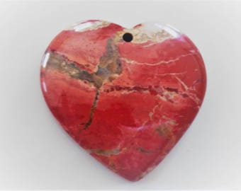 Natural Red River Jasper w/ Calcite Focal Bead Pendant Heart Jewelry Making & Wire Wrapping