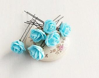 Light Blue Hair Pins, Rose Wedding Up Do Pins, Blue Rose Hair Pins, Bridal Bobby Pins, Something Blue Bridal Pins, Blue Hair Pins, Rose Pins