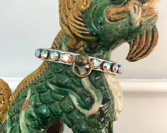 Glitzy Vintage Rhinestone Collar for Small Dogs or Large-ish Cats