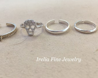 SALE ITEMS: Sterling Silver Toe Rings -- Multiple Options--