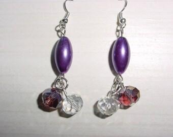 Dangling earrings, purple glass Pearl oval beads