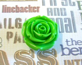 Rose Flower Lime Green Extra Large Resin Bead Pendant