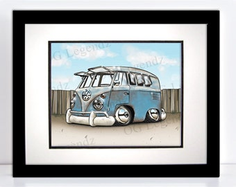 Rusty VW Kombi, Art Print - An Original EXCLUSIVE Volkswagen Design by Og Legendz... Type 2 Volkswagen - Bus Slammed