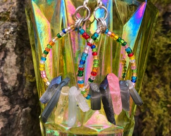 Kaladiscope - Colored Quartz Crystal and Glass Bead Earrings