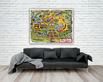 1971 Walt Disney World Magic Kingdom Map Print, Disney Poster, Reproduction Map Print, Fantasyland, Disney Princess Decor