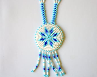 Beaded Indian Necklace,  Beaded Indian Necklace, Blue and Whiter Necklace,