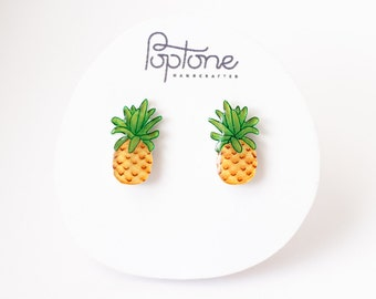 Pineapple Earrings, tropical pineapple fruit studs, pineapples jewelry, fruit stud earrings