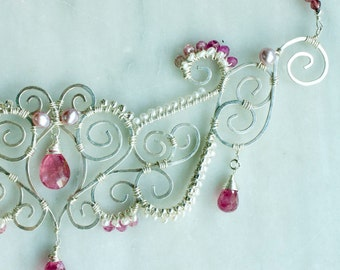 Pink Tourmaline and Pearl Sterling Silver Statement Necklace, Wire Wrapped Bib Necklace, Bridal Jewelry, White and Pink