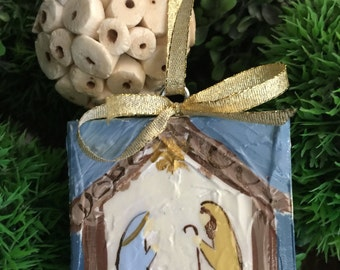 Canvas Nativity Christmas Ornament