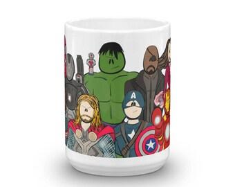 The Avengers, Hulk, Thor, Captain America, Iron Man, Spiderman, Ant Man, Black Panther Character Collage Coffee Mug