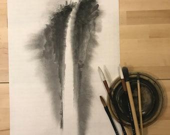 Japanese Painting, Waterfall, Watercolor Landscape, Sumi-e, Zen, Zen Artwork, Brush Art, Minimalist