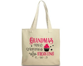Grandma Canvas Tote Bag - Cupcake Pink & Black Bag