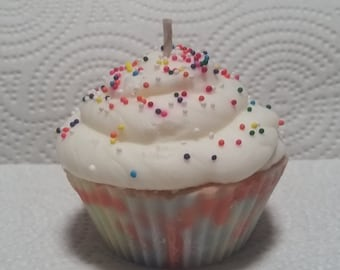 Tie Dye Vanilla cupcake candle / SOY wax / scented or unscented / 2 sizes