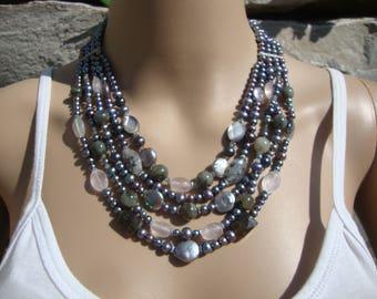 Vintage LUC Lucas Lameth Pearl & Semi Precious Gemstone 4 Strand  Necklace N108