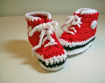Baby Booties Hi top Baby Red  Sneakers Converse Style Crochet  Baby Shoes Slippers