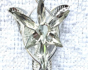 "Arwen evenstar style necklace in platinum plated and crystal. ""Arwen Necklace""."
