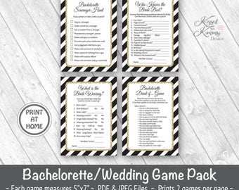 70% Off - Bachelorette Party Game Pack 4 - Scavenger Hunt - Drinking Games - Who Knows the Bride best - Printable - 5x7 Black Gold 21-G43