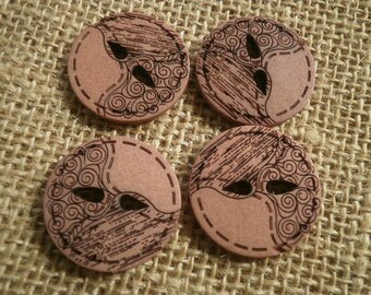 Set of 4 round buttons with two holes plastic brown color with black swirls, diameter 25 mm