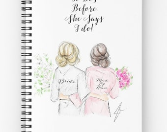 Maid Of Honor Notebook  (Fashion illustration journals-wedding journal - Bridal gift- Bridal Shower)