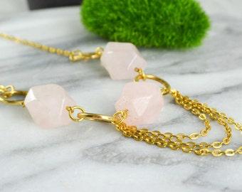 Rose quartz necklace and brass