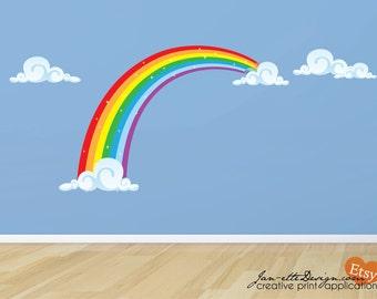 Rainbow Fabric Wall Decal, Rainbow Wall Sticker