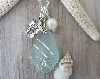 Handmade in Hawaii, wire wrapped sea foam sea glass beach glass necklace, Hibiscus and Pearl charms