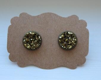 Pyrite Druzy Earrings, Gold Earrings, Drusy Earrings, 12mm Gunmetal Post, Druzy Earrings, Druzy Post, Pyrite Gold Druzy Earrings, Studs
